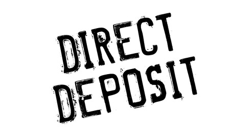 unambiguous: Direct Deposit rubber stamp. Grunge design with dust scratches. Effects can be easily removed for a clean, crisp look. Color is easily changed. Illustration
