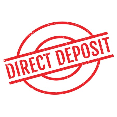 Direct Deposit rubber stamp. Grunge design with dust scratches. Effects can be easily removed for a clean, crisp look. Color is easily changed. Illustration
