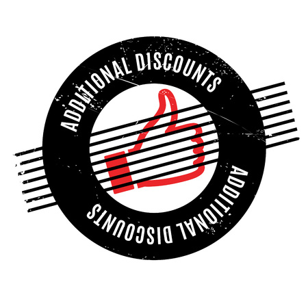 Additional Discounts rubber stamp. Grunge design with dust scratches. Effects can be easily removed for a clean, crisp look. Color is easily changed.