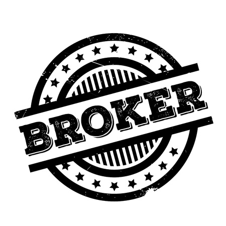 Broker rubber stamp. Grunge design with dust scratches. Effects can be easily removed for a clean, crisp look. Color is easily changed.
