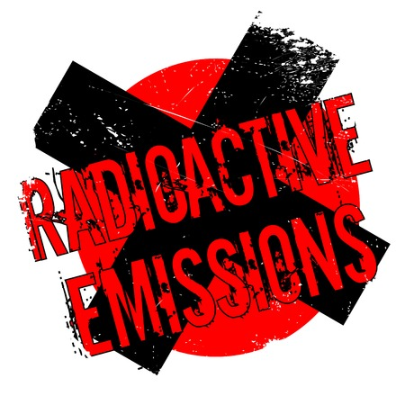 Radioactive Emissions rubber stamp. Grunge design with dust scratches. Effects can be easily removed for a clean, crisp look. Color is easily changed. Illustration