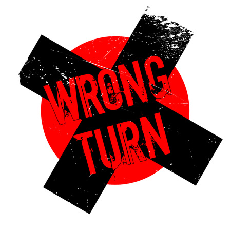 awry: Wrong Turn rubber stamp. Grunge design with dust scratches. Effects can be easily removed for a clean, crisp look. Color is easily changed.