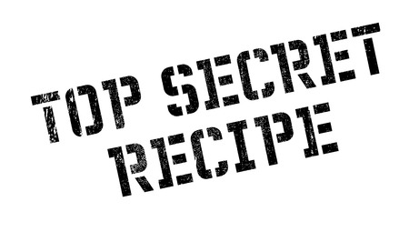 Top Secret Recipe rubber stamp. Grunge design with dust scratches. Effects can be easily removed for a clean, crisp look. Color is easily changed.