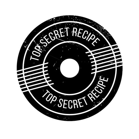 Top Secret Recipe rubber stamp. Grunge design with dust scratches. Effects can be easily removed for a clean, crisp look. Color is easily changed.  イラスト・ベクター素材