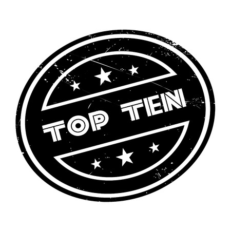 top ten: Top Ten rubber stamp. Grunge design with dust scratches. Effects can be easily removed for a clean, crisp look. Color is easily changed. Illustration