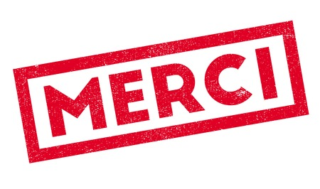 favor: Merci rubber stamp. Grunge design with dust scratches. Effects can be easily removed for a clean, crisp look. Color is easily changed.