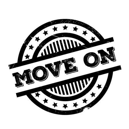 Move On rubber stamp. Grunge design with dust scratches. Effects can be easily removed for a clean, crisp look. Color is easily changed. Illustration