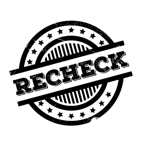 Recheck rubber stamp. Grunge design with dust scratches. Effects can be easily removed for a clean, crisp look. Color is easily changed.