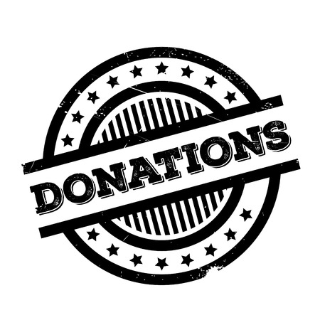 Donations rubber stamp. Grunge design with dust scratches. Effects can be easily removed for a clean, crisp look. Color is easily changed. Illustration