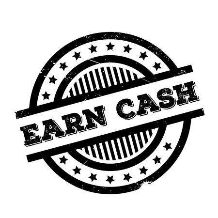 Earn Cash rubber stamp. Grunge design with dust scratches. Effects can be easily removed for a clean, crisp look. Color is easily changed.