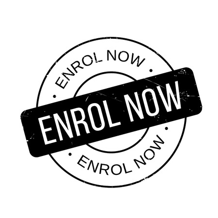 enlist: Enrol Now rubber stamp. Grunge design with dust scratches. Effects can be easily removed for a clean, crisp look. Color is easily changed.