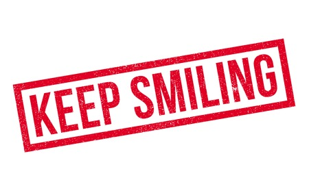 keep clean: Keep Smiling rubber stamp. Grunge design with dust scratches. Effects can be easily removed for a clean, crisp look. Color is easily changed.