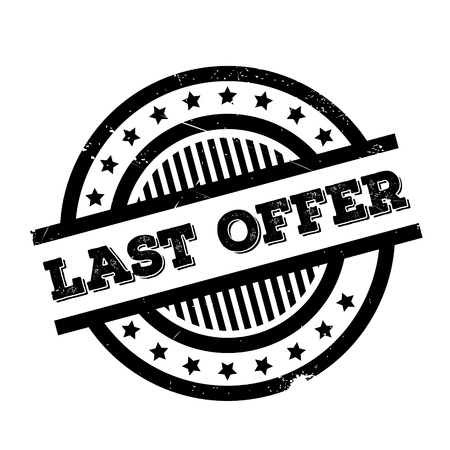lag: Last Offer rubber stamp. Grunge design with dust scratches. Effects can be easily removed for a clean, crisp look. Color is easily changed. Illustration