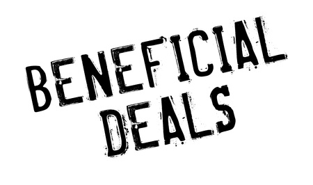 pledge: Beneficial Deals rubber stamp. Grunge design with dust scratches. Effects can be easily removed for a clean, crisp look. Color is easily changed. Illustration