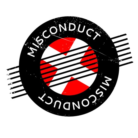Misconduct rubber stamp. Grunge design with dust scratches. Effects can be easily removed for a clean, crisp look. Color is easily changed.