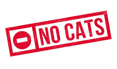 not permitted: No Cats rubber stamp. Grunge design with dust scratches. Effects can be easily removed for a clean, crisp look. Color is easily changed. Illustration