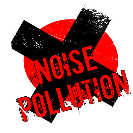 Noise Pollution rubber stamp. Grunge design with dust scratches. Effects can be easily removed for a clean, crisp look. Color is easily changed.