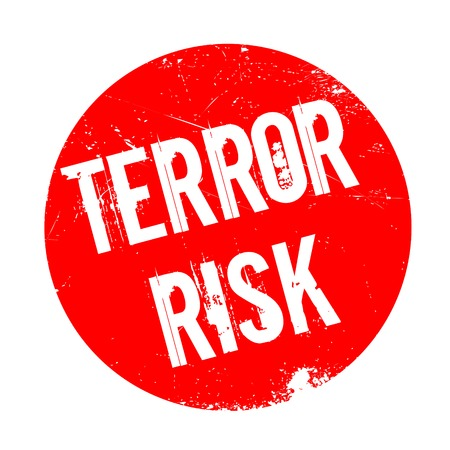 hijack: Terror Risk rubber stamp. Grunge design with dust scratches. Effects can be easily removed for a clean, crisp look. Color is easily changed.