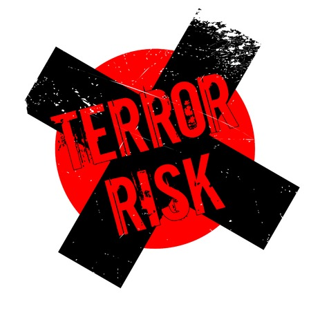 terrorist attack: Terror Risk rubber stamp. Grunge design with dust scratches. Effects can be easily removed for a clean, crisp look. Color is easily changed.