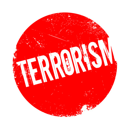 convulsion: Terrorism rubber stamp. Grunge design with dust scratches. Effects can be easily removed for a clean, crisp look. Color is easily changed.