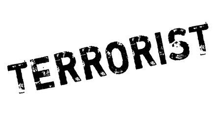 Terrorist rubber stamp. Grunge design with dust scratches. Effects can be easily removed for a clean, crisp look. Color is easily changed.