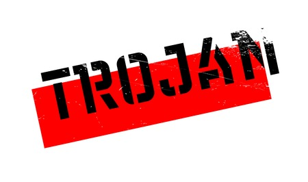 Trojan rubber stamp. Grunge design with dust scratches. Effects can be easily removed for a clean, crisp look. Color is easily changed. Vettoriali
