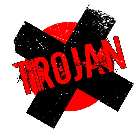 Trojan rubber stamp. Grunge design with dust scratches. Effects can be easily removed for a clean, crisp look. Color is easily changed. Illustration