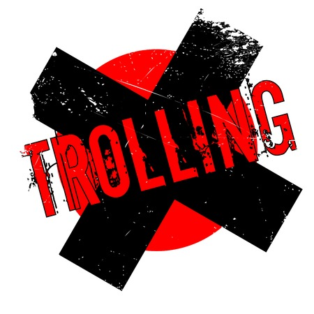Trolling rubber stamp. Grunge design with dust scratches. Effects can be easily removed for a clean, crisp look. Color is easily changed. Illustration