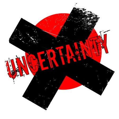 Uncertainty rubber stamp. Grunge design with dust scratches. Effects can be easily removed for a clean, crisp look. Color is easily changed.