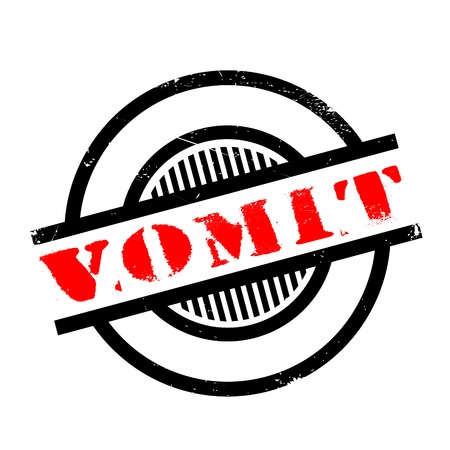 Vomit rubber stamp. Grunge design with dust scratches. Effects can be easily removed for a clean, crisp look. Color is easily changed.