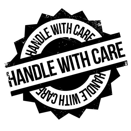 Handle With Care rubber stamp. Grunge design with dust scratches. Effects can be easily removed for a clean, crisp look. Color is easily changed. Illustration