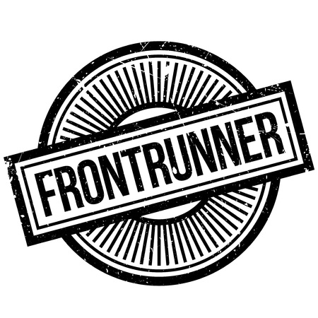 Frontrunner rubber stamp. Grunge design with dust scratches. Effects can be easily removed for a clean, crisp look. Color is easily changed. Illustration