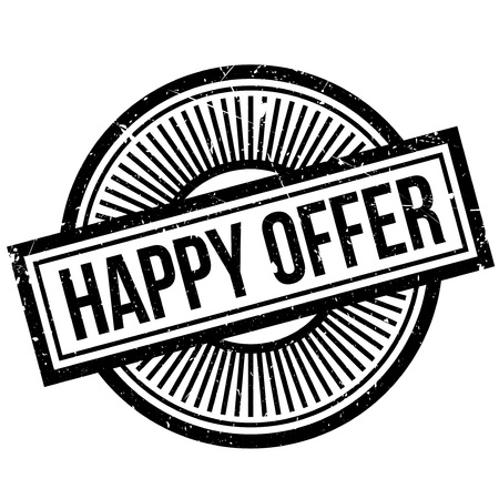 gratified: Happy Offer rubber stamp. Grunge design with dust scratches. Effects can be easily removed for a clean, crisp look. Color is easily changed. Illustration