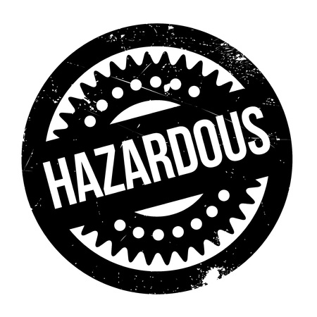risky situation: Hazardous rubber stamp. Grunge design with dust scratches. Effects can be easily removed for a clean, crisp look. Color is easily changed.