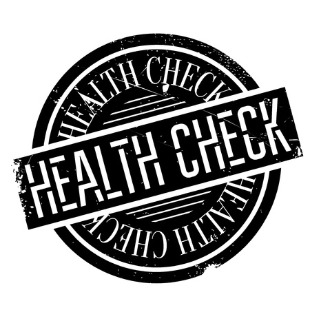 medical evaluation: Health Check rubber stamp. Grunge design with dust scratches. Effects can be easily removed for a clean, crisp look. Color is easily changed. Illustration