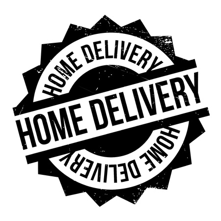 asian family: Home Delivery rubber stamp. Grunge design with dust scratches. Effects can be easily removed for a clean, crisp look. Color is easily changed.