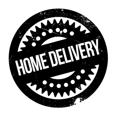 portage: Home Delivery rubber stamp. Grunge design with dust scratches. Effects can be easily removed for a clean, crisp look. Color is easily changed.