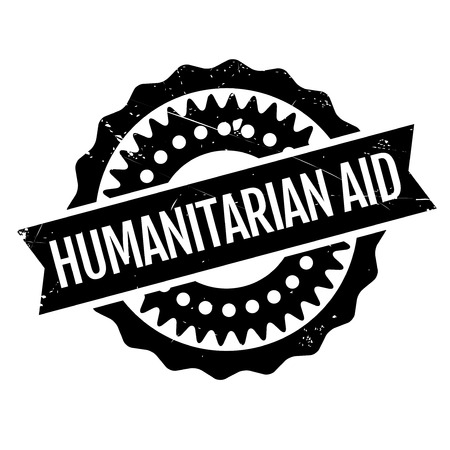 disaster relief: Humanitarian Aid rubber stamp. Grunge design with dust scratches. Effects can be easily removed for a clean, crisp look. Color is easily changed. Illustration