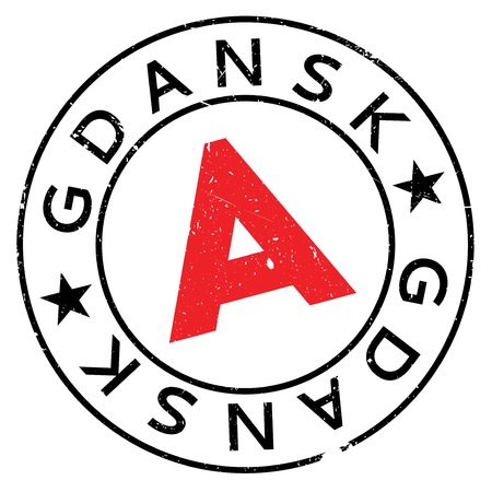 Gdansk stamp. Grunge design with dust scratches. Effects can be easily removed for a clean, crisp look. Color is easily changed.