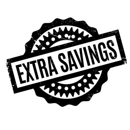 stockpile: Extra Savings rubber stamp. Grunge design with dust scratches. Effects can be easily removed for a clean, crisp look. Color is easily changed. Illustration