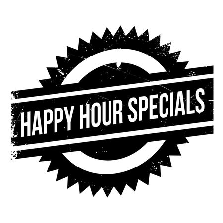 morsel: Happy hour specials stamp. Grunge design with dust scratches. Effects can be easily removed for a clean, crisp look. Color is easily changed.