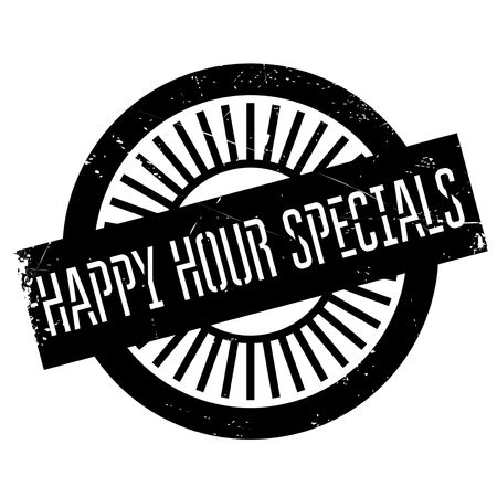 collation: Happy hour specials stamp. Grunge design with dust scratches. Effects can be easily removed for a clean, crisp look. Color is easily changed.