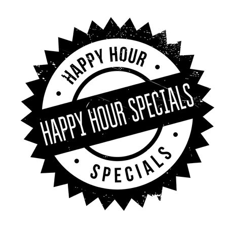revue: Happy hour specials stamp. Grunge design with dust scratches. Effects can be easily removed for a clean, crisp look. Color is easily changed.