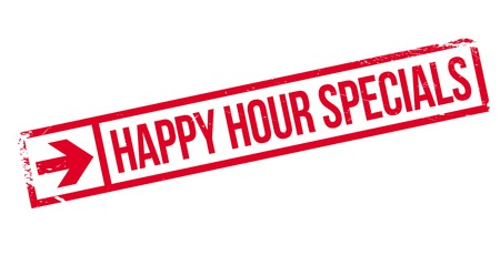 potluck: Happy hour specials stamp. Grunge design with dust scratches. Effects can be easily removed for a clean, crisp look. Color is easily changed.
