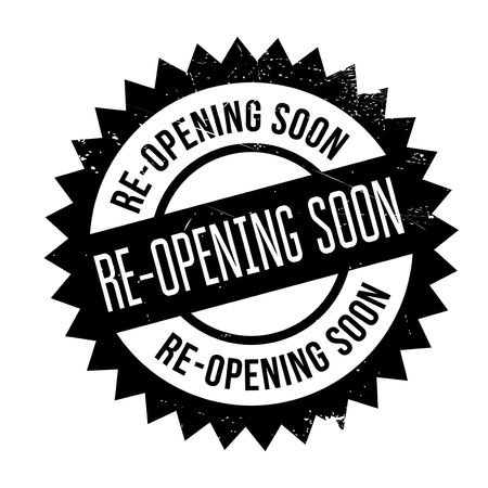 Re-opening soon stamp. Grunge design with dust scratches. Effects can be easily removed for a clean, crisp look. Color is easily changed.