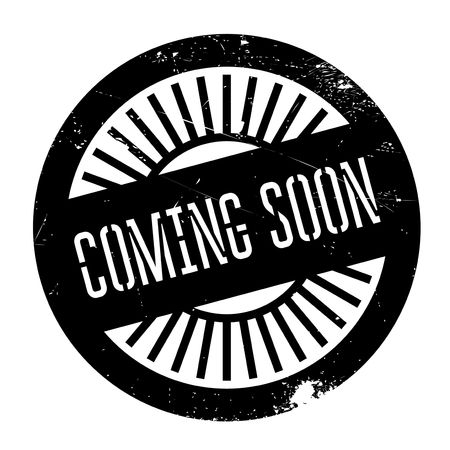 promptly: Coming soon stamp. Grunge design with dust scratches. Effects can be easily removed for a clean, crisp look. Color is easily changed. Illustration