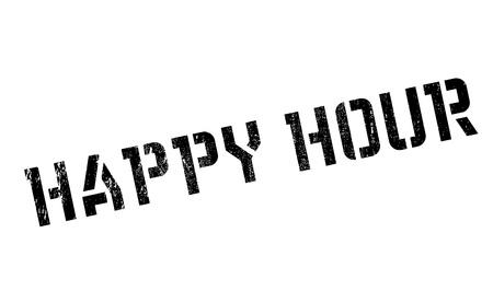 Happy hour stamp. Grunge-Design mit Staub Kratzer. Die Effekte können leicht für einen sauberen, frischen Look entfernt werden. Die Farbe ist leicht verändert.