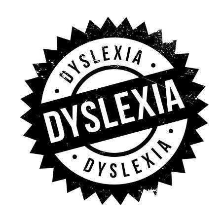 Dyslexia stamp. Grunge design with dust scratches. Effects can be easily removed for a clean, crisp look. Color is easily changed.