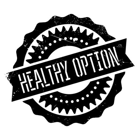 Healthy option stamp. Grunge design with dust scratches. Effects can be easily removed for a clean, crisp look. Color is easily changed. Illustration