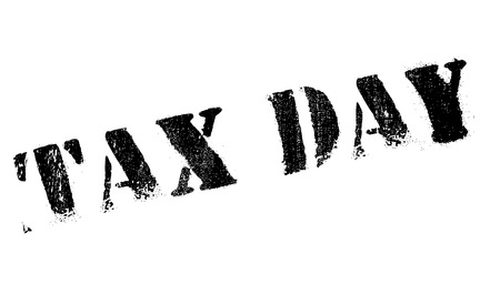 Tax day stamp. Grunge design with dust scratches. Effects can be easily removed for a clean, crisp look. Color is easily changed.